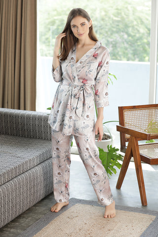 3 piece cami night suit with wrap