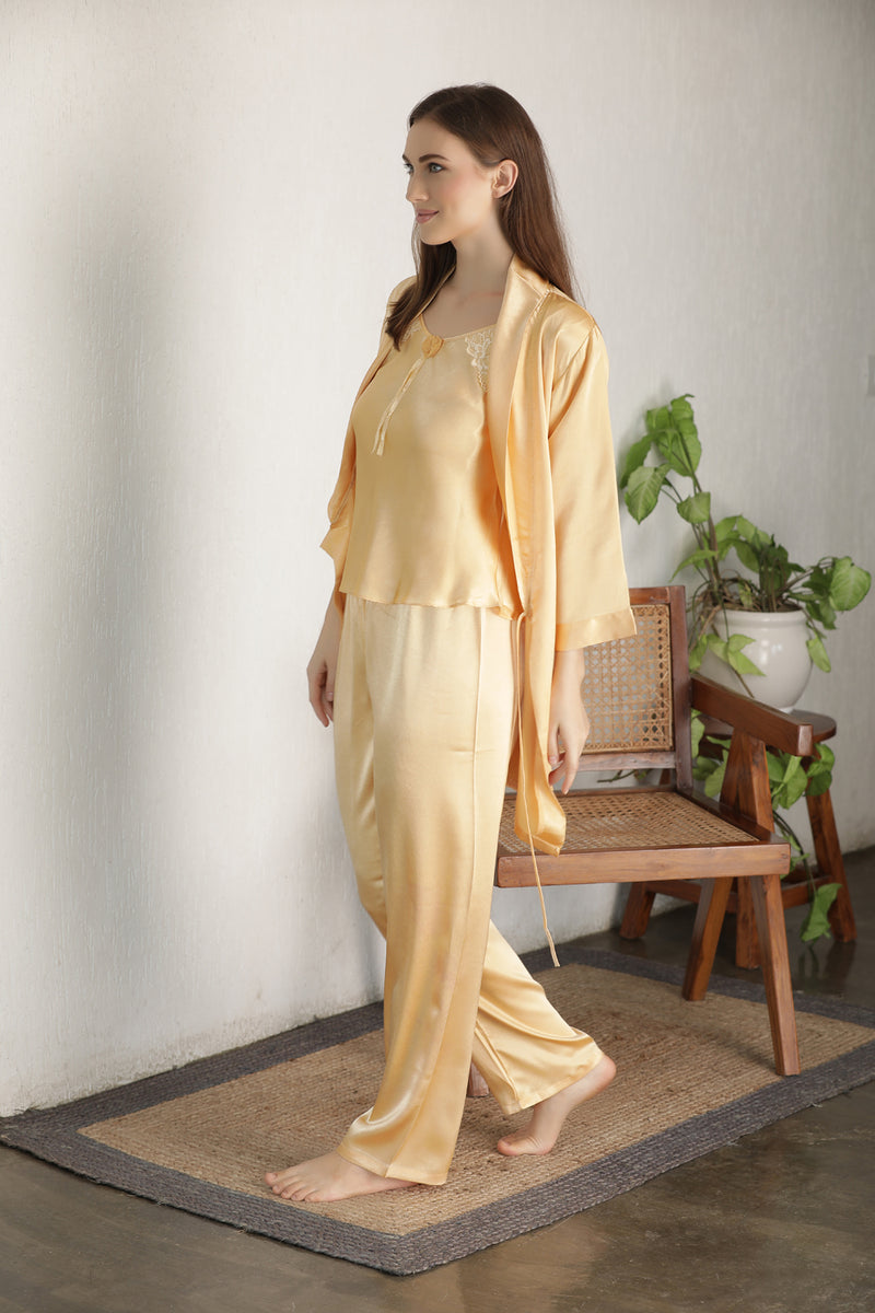 Gold Satin Night suit with Robe
