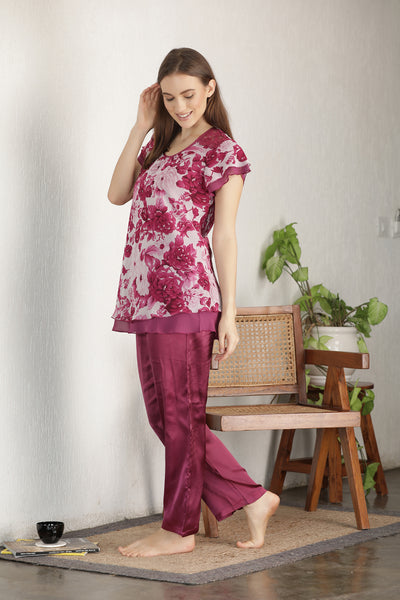 Print Chiffon & Satin Night suit