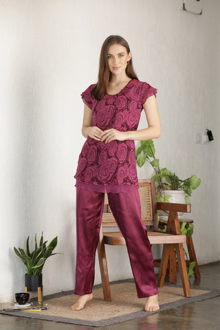 Double chiffon & Satin Night suit