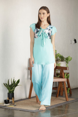 Light Green Chiffon & Satin Night suit