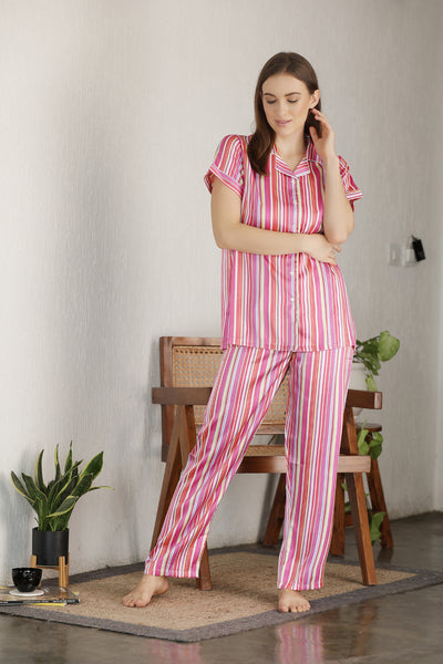 Stripe Satin Button Down Night suit