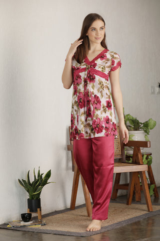 Chiffon & Satin Night suit