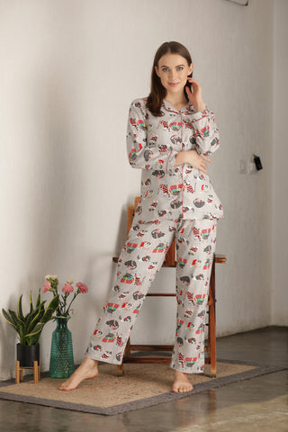 Flannel Print Night suit