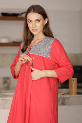 Cotton Knit Nursing Nighty