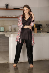 Satin Night suit with Print Robe