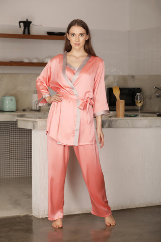 Strap top Satin Night suit with Robe