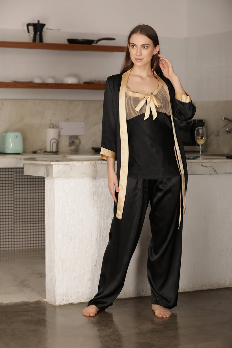 Elegant cami Night suit with wrap