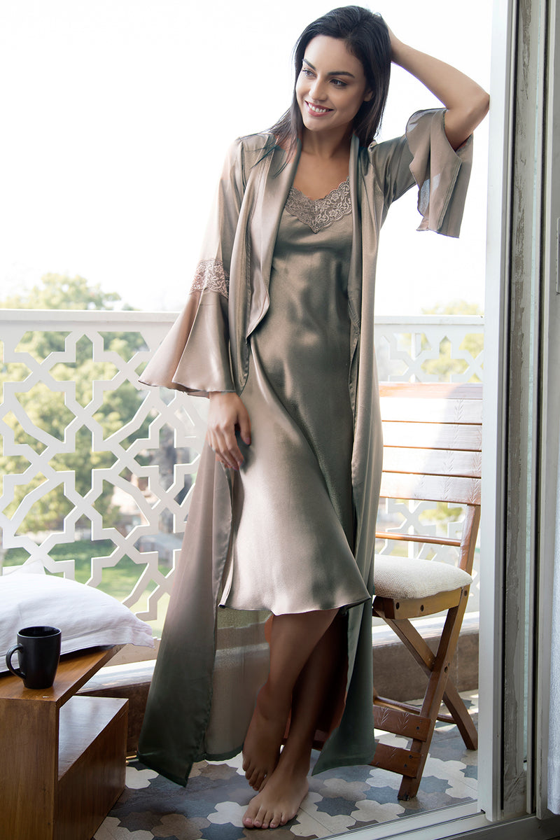 Grey Long Nightgown set