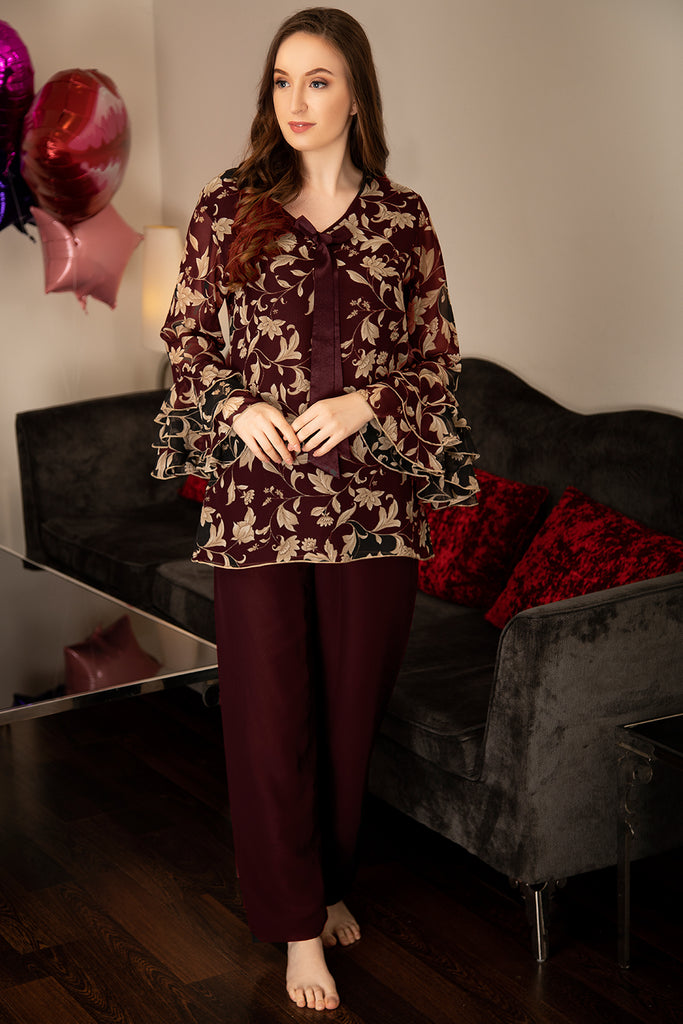 Double layered luxe-chiffon Night suit