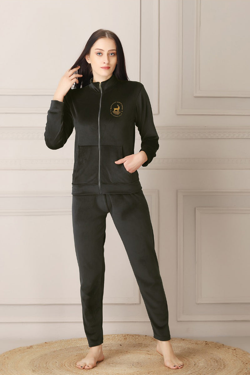 Black Super Soft Velvet Track suit