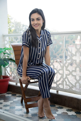 Blue stripe Button down satin Night suit