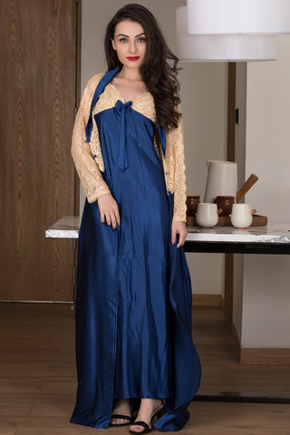 Navy Blue Satin Nightie & Robe with Gold Lacework