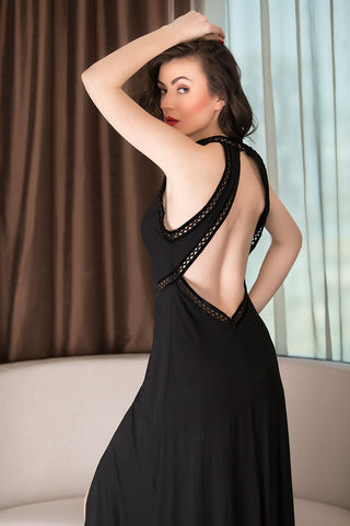 Black Designer Nightwear Set