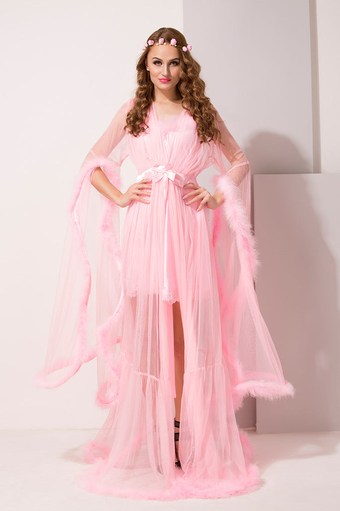 Baby Pink Satin & Net 2Pcs Set - Private Lives