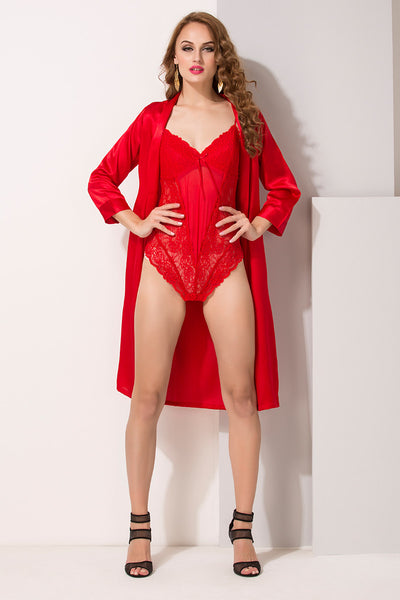 Red Satin & Net 2Pcs Set - Private Lives