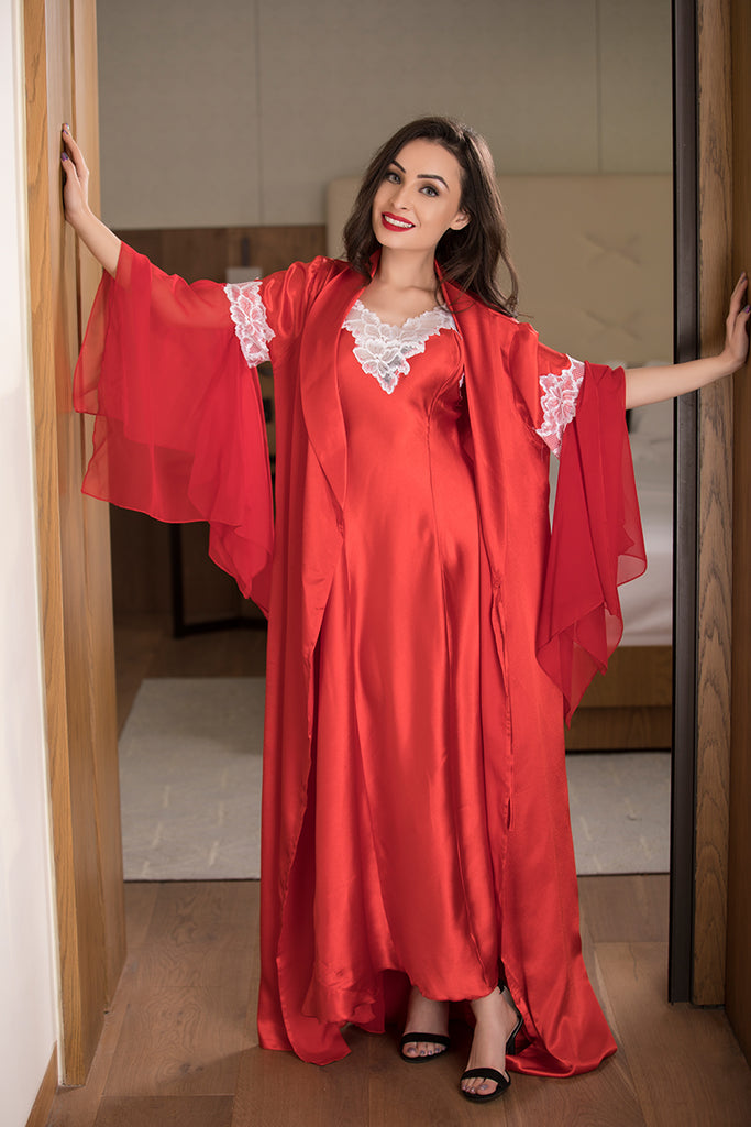 Private Lives Red Satin 2Pcs Set - Private Lives