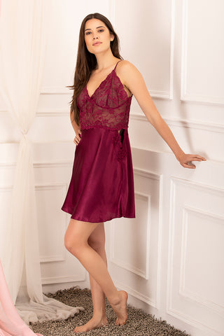 Private Lives Maroon Satin Baby Doll - Private Lives