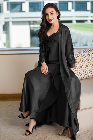 Private Lives Black Satin 2Pcs Set