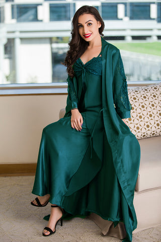 Private Lives Green Satin 2Pcs Set