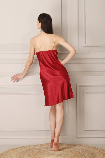 Gold & Maroon Satin Short Nightgown set