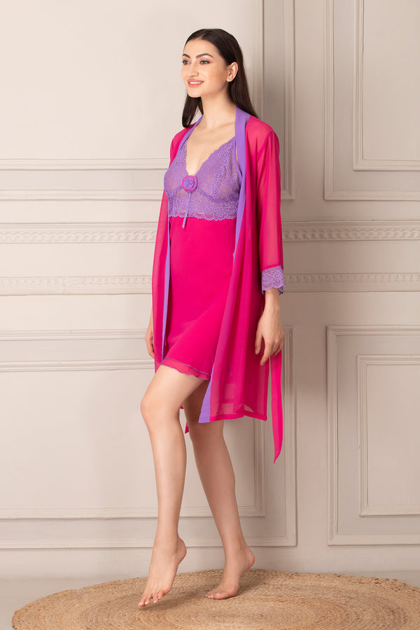 Double Chiffon Short Nightgown set