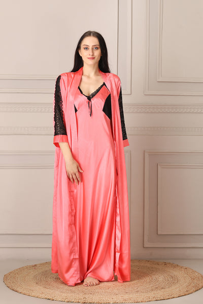 Long Nightgown set in Plain Satin