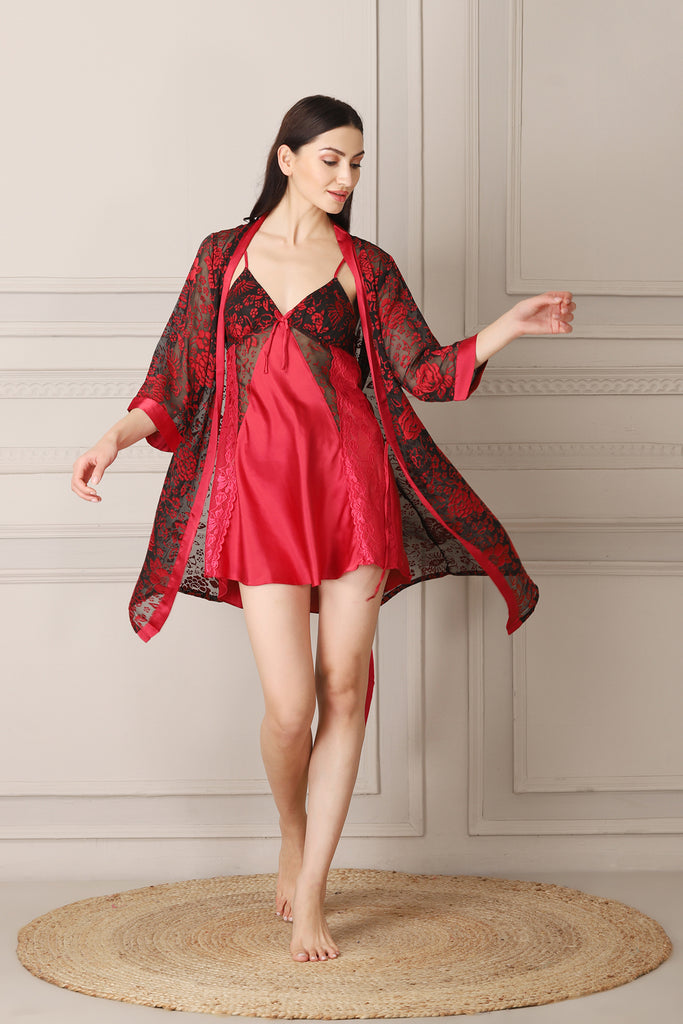 Maroon Satin Nightgown set