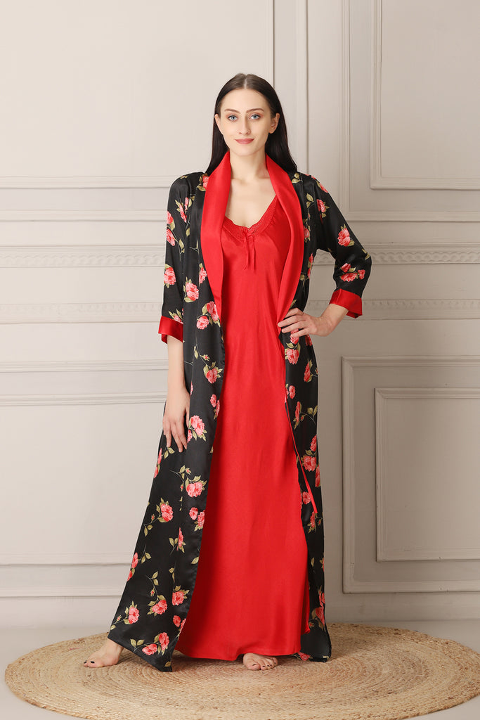 Red Satin Nighty & Print Robe Nightgown set