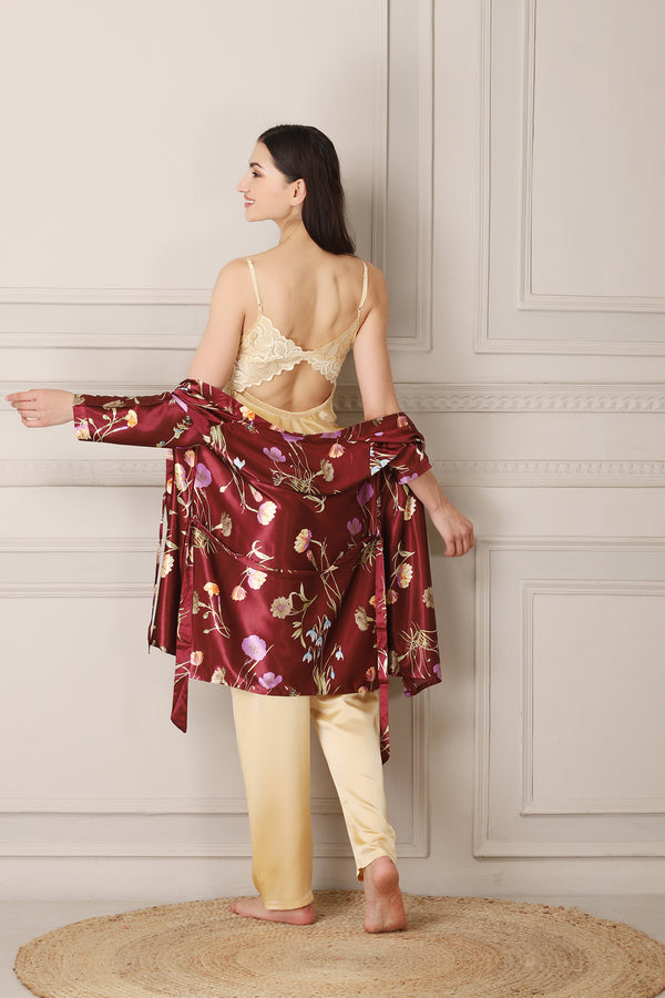 Gold Satin Night suit with Printed Robe