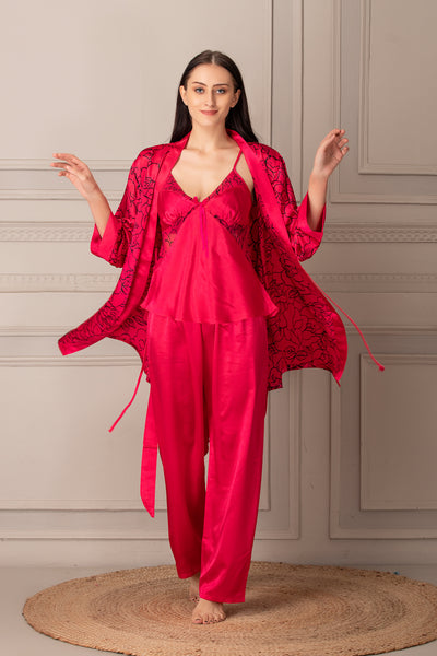 Hot Pink Satin Night suit with Robe