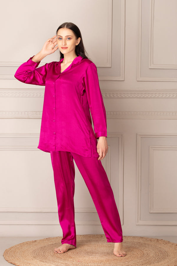 Pink Satin Classic Collar Night suit