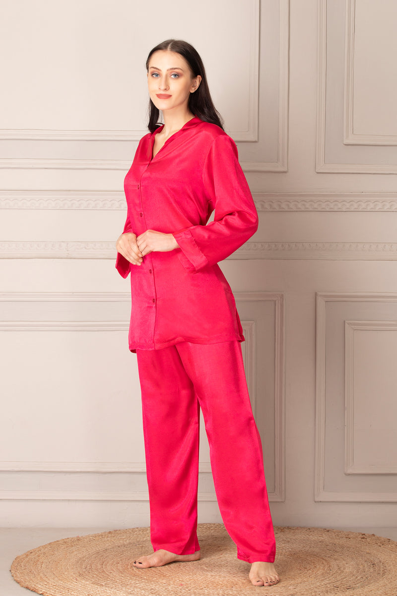 Satin Classic Collar night suit