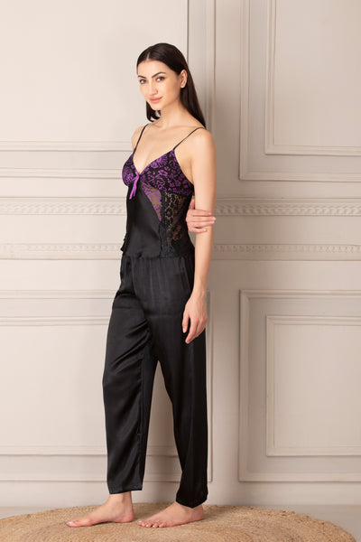 Black Satin Night suit with Robe