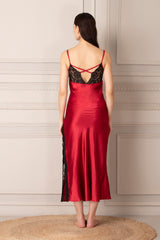 Maroon Satin Strap Nighty