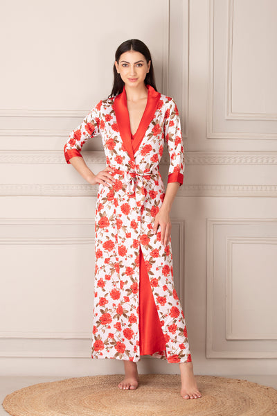 Print Satin Long Nightgown set