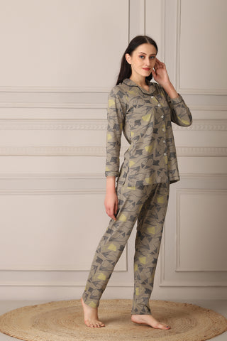 Knit Cotton Print Classic Collar Night suit