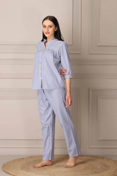 Pure Cotton Button Down Night suit