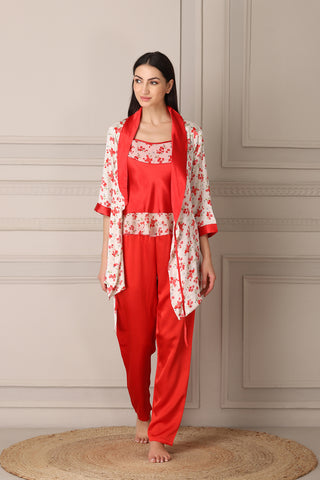 Red Satin Night suit with Printed Robe