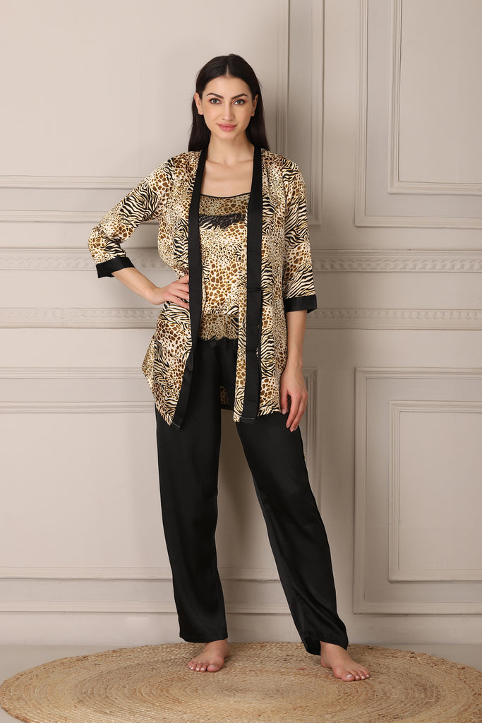 Tiger Print Satin Night suit with Robe