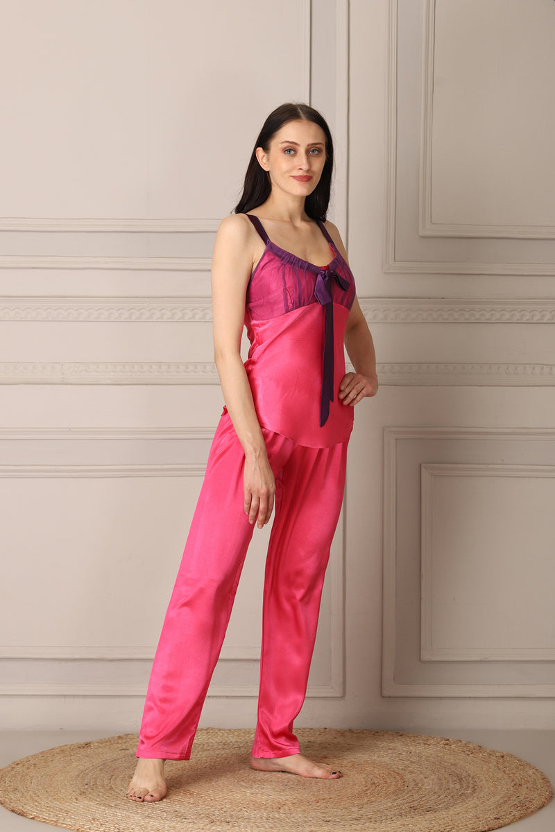 Pink Satin Night suit with Robe