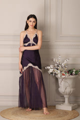 Designer Nighty & Robe in Satin with intricate lace