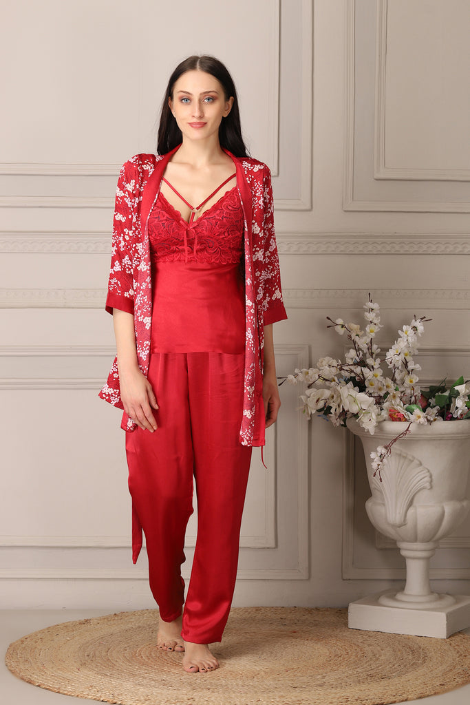 Bridal Satin Night Suit with Robe