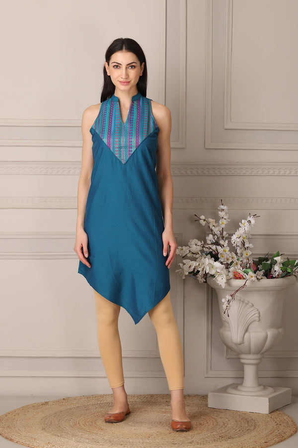 Sleeveless Blue Tunic