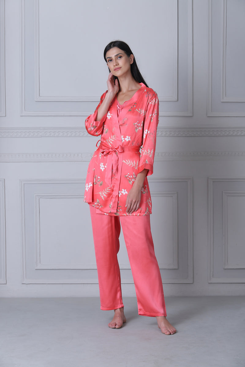 Satin Night suit with Floral print robe