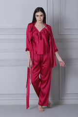 Maroon satin Strap top & Pj with Robe