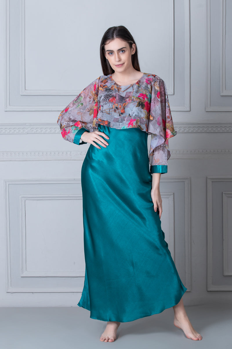 Vibrant Green Satin Nighty with print Cape