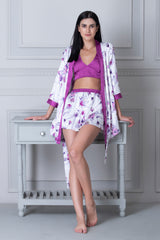 Satin Top & Skirt with Robe