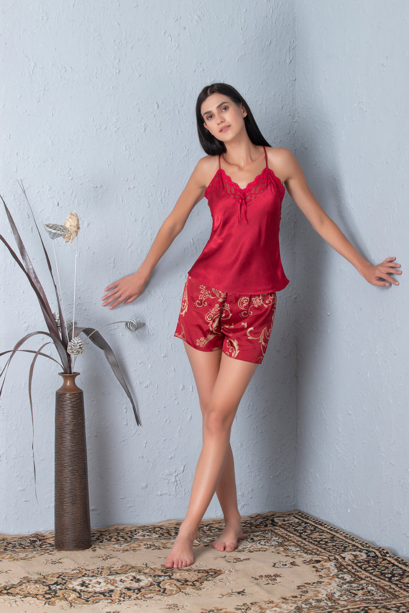 Luxurious Maroon Strap top & Printed shorts