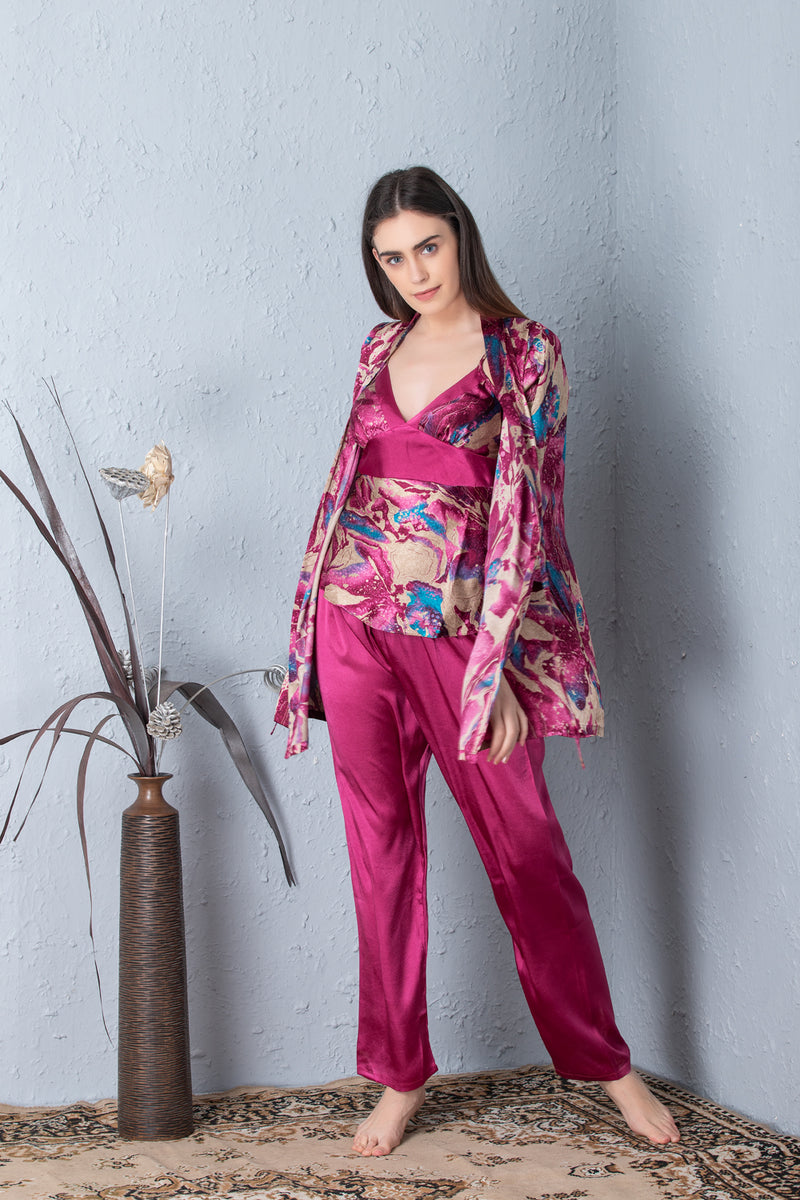 Printed Satin Night suit with Robe